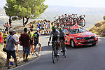 Werkilul Ghebreigzabhier (ERI) and Louis Meintjes (RSA) Team Dimension Data on the slopes of Sierra de la Alfaguara near the finish of Stage 4 of the La Vuelta 2018, running 162km from Velez-Malaga to Alfacar, Sierra de la Alfaguara, Andalucia, Spain. 28th August 2018.<br /> Picture: Eoin Clarke   Cyclefile<br /> <br /> <br /> All photos usage must carry mandatory copyright credit (&copy; Cyclefile   Eoin Clarke)