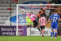 Lincoln City's Josh Vickers makes a save<br /> <br /> Photographer Chris Vaughan/CameraSport<br /> <br /> The EFL Sky Bet League Two - Lincoln City v Chesterfield - Saturday 7th October 2017 - Sincil Bank - Lincoln<br /> <br /> World Copyright &copy; 2017 CameraSport. All rights reserved. 43 Linden Ave. Countesthorpe. Leicester. England. LE8 5PG - Tel: +44 (0) 116 277 4147 - admin@camerasport.com - www.camerasport.com