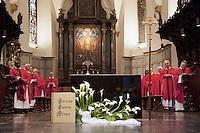 Switzerland. Canton Valais. St-Maurice. Africa Saints Pilgrimage (P&egrave;lerinage aux Saints d'Afrique). Religious <br /> ceremony in St-Maurice's abbey. Catholic priests and cross during a mass. 2.06.13 &copy; 2013 Didier Ruef