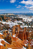 Bryce Canyon National Park, Utah, UT, USA - Hoodoos covered with Light Snowfall, Early Spring