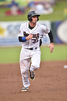 Tennessee Smokies catcher Charlie Cutler #37 runs to third during a game against the Mississippi Braves at Smokies Park on July 21, 2014 in Kodak, Tennessee. The Braves defeated the Smokies 4-3. (Tony Farlow/Four Seam Images)