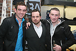 Sean Collier, Matthew Black and Mark Magill at Unit 1's second birthday party...Photo NEWSFILE/Jenny Matthews.(Photo credit should read Jenny Matthews/NEWSFILE)....This Picture has been sent you under the condtions enclosed by:.Newsfile Ltd..The Studio,.Millmount Abbey,.Drogheda,.Co Meath..Ireland..Tel: +353(0)41-9871240.Fax: +353(0)41-9871260.GSM: +353(0)86-2500958.email: pictures@newsfile.ie.www.newsfile.ie.FTP: 193.120.102.198.