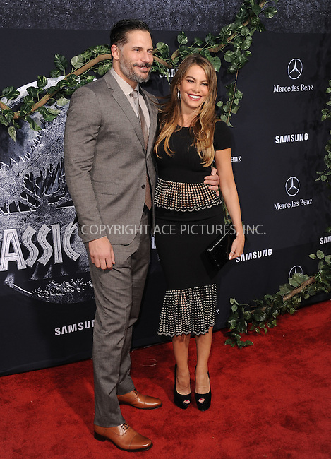 WWW.ACEPIXS.COM<br /> <br /> June 9 2015, LA<br /> <br /> Actors Joe Manganiello and Sofia Vergara arriving at the world premiere of 'Jurassic World' at the Dolby Theatre on June 9, 2015 in Hollywood, California. <br /> <br /> <br /> By Line: Peter West/ACE Pictures<br /> <br /> <br /> ACE Pictures, Inc.<br /> tel: 646 769 0430<br /> Email: info@acepixs.com<br /> www.acepixs.com