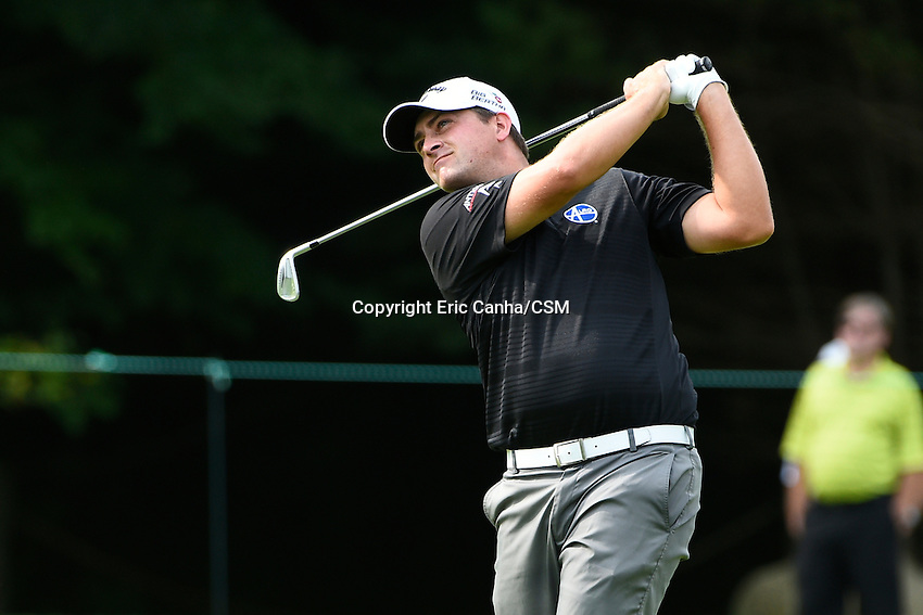 August 31, 2014 -  Norton, Mass. - Chris Stroud watches the flight of his ball on the 4th hole during the third round of the PGA FedEx Cup playoffs, Deutsche Bank Championship, held at the Tournament Players Club in Norton Massachusetts. Eric Canha/CSM