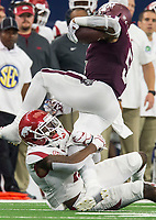 Hawgs Illustrated/Ben Goff<br /> Ryan Pulley, Arkansas cornerback, tackles Trayveon Williams, Texas A&M tailback, in the 1st quarter Saturday, Sept. 29, 2018, during the Southwest Classic at AT&T Stadium in Arlington, Texas.
