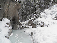 The ice-walk in Maligne Canyon, Jasper National Park, Alberta, is one of the best free winter activities in Canada and a popular venue for ice-climbing.