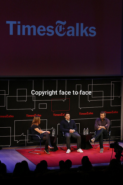 New York Times reporter Melena Ryzik with James Franco and Chris O'Dowd onstage at TimesTalks Presents 'An Evening With James Franco And Chris O'Dowd' at the Times Center on March 7, 2014 in New York City.<br />