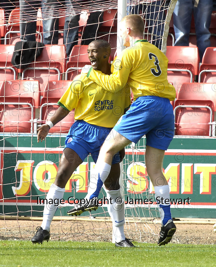 01/09/2007       Copyright Pic: James Stewart.File Name : sct_jspa04_partick_v_hamilton.RICHARD OFFIONG CELEBRATES AFTER HE SCORES HAMILTON'S SECOND....James Stewart Photo Agency 19 Carronlea Drive, Falkirk. FK2 8DN      Vat Reg No. 607 6932 25.Office     : +44 (0)1324 570906     .Mobile   : +44 (0)7721 416997.Fax         : +44 (0)1324 570906.E-mail  :  jim@jspa.co.uk.If you require further information then contact Jim Stewart on any of the numbers above........