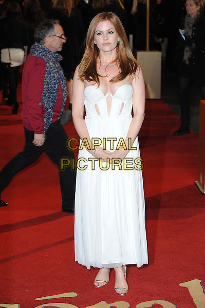 Isla Fisher.World Premiere of 'Les Miserables' at the Odeon & Empire cinemas Leicester Square, London, England..December 5th 2012.full length white dress cut out away profile strapless cleavage .CAP/BEL.©Tom Belcher/Capital Pictures.