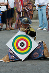 August 17th, 2011- Mishima, Shizuoka, Japan- A Yabusame horse-back archer holds a target used in the days shooting at the end of a Yabusame ritual held at Mishima Taisha Shrine.