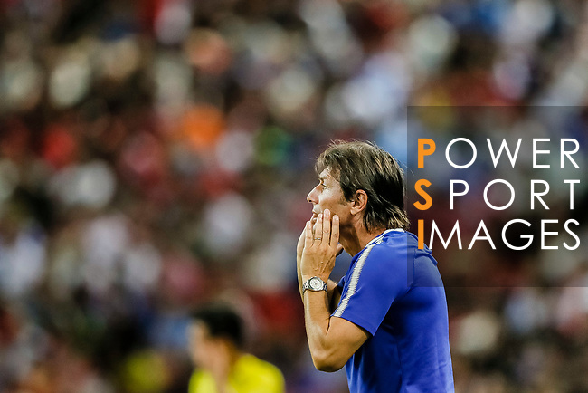 Chelsea Head Coach Antonio Conte gestures during the International Champions Cup match between Chelsea FC and FC Bayern Munich at National Stadium on July 25, 2017 in Singapore. Photo by Marcio Rodrigo Machado / Power Sport Images