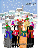 Kate, CHRISTMAS ANIMALS, WEIHNACHTEN TIERE, NAVIDAD ANIMALES, paintings+++++cats and dogs in snowy village,GBKM90,#xa# ,cat,cats