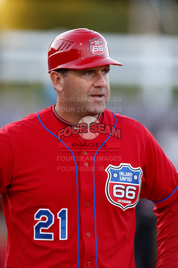 Inland Empire 66'ers Manager Bill Haselman #21 before a game against the San Jose Giants on April 18, 2013 at San Manuel Stadium in San Bernardino, California. (Larry Goren/Four Seam Images)
