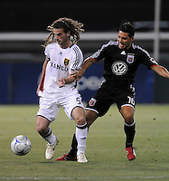 DC United midfielder Christian Gomez (10) fights for control versus Real Salt Lake midfielder Kyle Beckerman (5).  DC United tied Real Salt Lake 0-0 at  RFK Stadium, Saturday May 23, 2009.