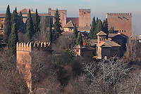 Towers of the Alhambra Palace seen from the Generalife, Granada, Andalusia, Southern Spain. The Alhambra was begun in the 11th century as a castle, and in the 13th and 14th centuries served as the royal palace of the Nasrid sultans. The huge complex contains the Alcazaba, Nasrid palaces, gardens and Generalife. Picture by Manuel Cohen