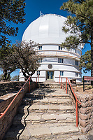 Dome of the 2.1 m Otto Struve Telescope on Mount Locke in the Davis Mountains outside of the community of Fort Davis Texas.  This telecope was the first to be built in 1939 and sits at an elevation of 6790 feet which is the highest point on the  Texas highway.