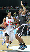 28.03.2012 Bilbao, Spain. Euroleague Playoff game 3. Picture show Sasha Kaun (L) and Aaron Jackson (R) in action   during match betwen Gescrap BB againts CSKA Moscow at Bilbao Arena