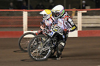 Heat 7: Patrick Hougaard (white) and Linus Sundstrom - Lakeside Hammers vs Peterborough Panthers - Sky Sports Elite League Speedway at Arena Essex Raceway, Purfleet - 14/09/12 - MANDATORY CREDIT: Gavin Ellis/TGSPHOTO - Self billing applies where appropriate - 0845 094 6026 - contact@tgsphoto.co.uk - NO UNPAID USE.