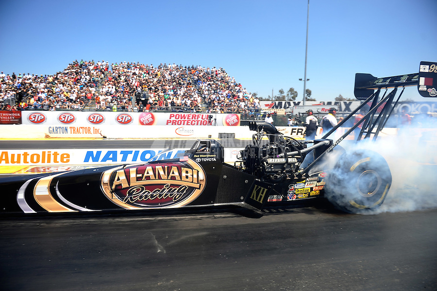 Jul. 31, 2011; Sonoma, CA, USA; NHRA top fuel dragster driver Del Worsham during the Fram Autolite Nationals at Infineon Raceway. Mandatory Credit: Mark J. Rebilas-