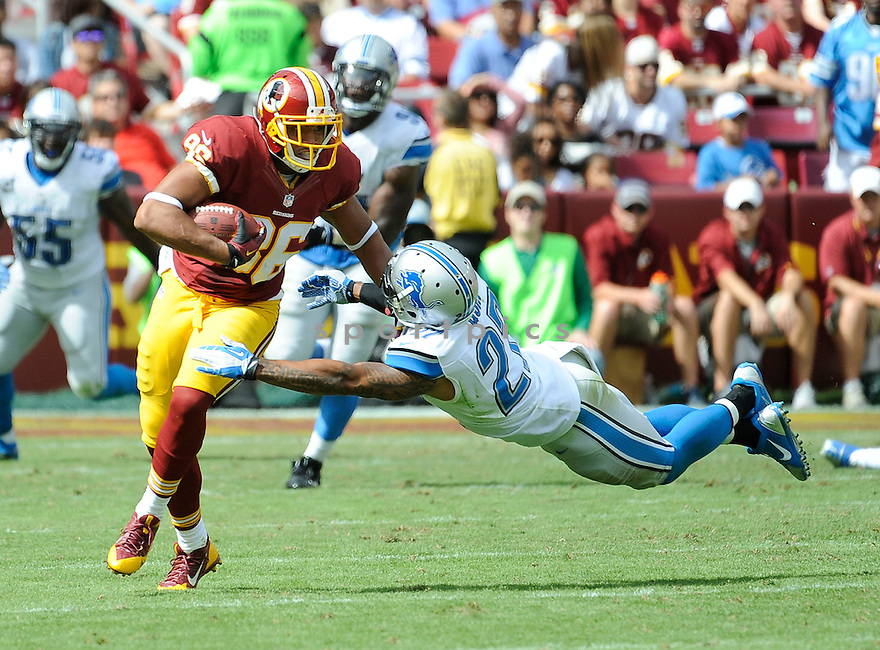 Washington Redskins Jordan Reed (86) during a game against the Detroit Lions on September 22, 2013 at FedEx Field in Landover, MD. The Lions beat the Redskins 27-20.