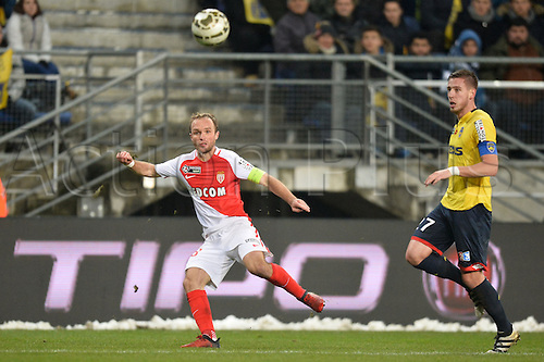 10.01.2017. Stade Bonal, Montbéliard, France. French League cup football, Sochaux versus Monaco.  VALERE GERMAIN (mon) watches the loose ball with Pierre GIBAUD (soc)