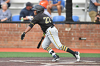 Bristol Pirates designated hitter Felix Vinicio (27) swings at a pitch during a game against the Johnson City Cardinals at TVA Credit Union Ballpark on June 23, 2017 in Johnson City, Tennessee. The Pirates defeated the Cardinals 4-3. (Tony Farlow/Four Seam Images)