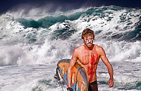 Injured surfer with huge surf in the background at Banzai Pipeline on North Shore of Oahu.