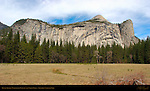 Royal Arches, North Dome and Washington Column from Stoneman Meadow in March, Yosemite National Park