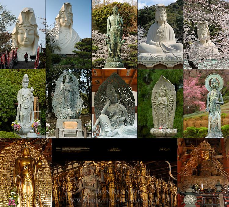 Japanese Kannon Sculptures - Ofuna Kannon, Satsukiyama Koen Jibo Kannon, Ryozen Kannon<br /> , Ofuna Sho-Kannon, Tenryuji Maria Kannon, Shitennoji Nyoirin Kannon, Katsuoji Senju Kannon, Katsuoji Mizuko Kannon, Shitennoji Juichimen Kannon, Sanjusangendo Ashura and Senju Kannons, Sanjusangendo Senju Kannons, Todaiji Nyoirin Kannon
