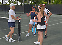WESTON, FL - DECEMBER 08: Martina Navratilova, former Czechoslovak and American professional tennis player and coach, Elizabeth Signore Sajid Malik and Ninoska Malik playing at Midtown Athletic Club Weston on December 08, 2018 in Weston, Florida. ( Photo by Johnny Louis / jlnphotography.com )