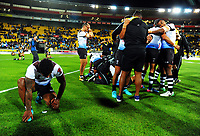 Fiji captain Kevin Naiqama (left) is overcome with emotion after winning the 2017 Rugby League World Cup quarterfinal match between New Zealand Kiwis and Fiji at Wellington Regional Stadium in Wellington, New Zealand on Saturday, 18 November 2017. Photo: Dave Lintott / lintottphoto.co.nz