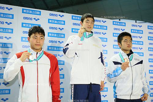 (L to R) <br /> Reigo Ishibashi, <br /> Shinnosuke Ishikawa, <br /> Takahiro Itaba, <br /> MARCH 29, 2015 - Swimming : <br /> The 37th JOC Junior Olympic Cup <br /> Men's 50m Butterfly <br /> 13-14 years old award ceremony <br /> at Tatsumi International Swimming Pool, Tokyo, Japan. <br /> (Photo by YUTAKA/AFLO SPORT)