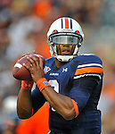 Bob Gathany / The Huntsville TImes - Auburn vs. Clemson football at Jordan Hare Stadium Saturday sept, 18, 2010.  Auburn quarterback Cameron Newton (2) warms up before game.