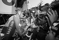 Nicolas Roche (IRL) in teh media scrum just after finishing<br /> <br /> Tour de France 2013<br /> stage 16: Vaison-la-Romaine to Gap, 168km