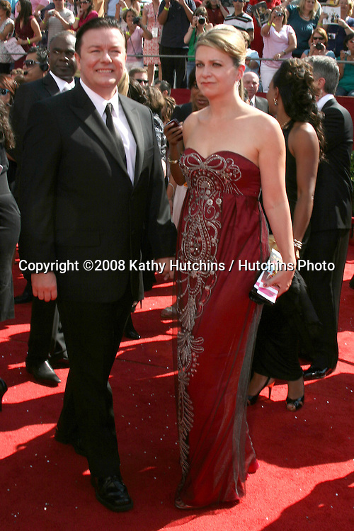 Ricky Gervais.arriving at the Primetime Emmys at the Nokia Theater in Los Angeles, CA on.September 21, 2008.©2008 Kathy Hutchins / Hutchins Photo....