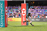 Stedman Gans of South Africa runs for scoring his goal during the HSBC Hong Kong Sevens 2018 Bronze Medal Final match between South Africa and New Zealand on 08 April 2018 in Hong Kong, Hong Kong. Photo by Marcio Rodrigo Machado / Power Sport Images