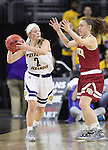 SIOUX FALLS, SD: MARCH 4: Emily Clemens #2 of Western Illinois looks past defender Lauren Loves #3 of Denver on March 4, 2017 during the Summit League Basketball Championship at the Denny Sanford Premier Center in Sioux Falls, SD. (Photo by Dick Carlson/Inertia)