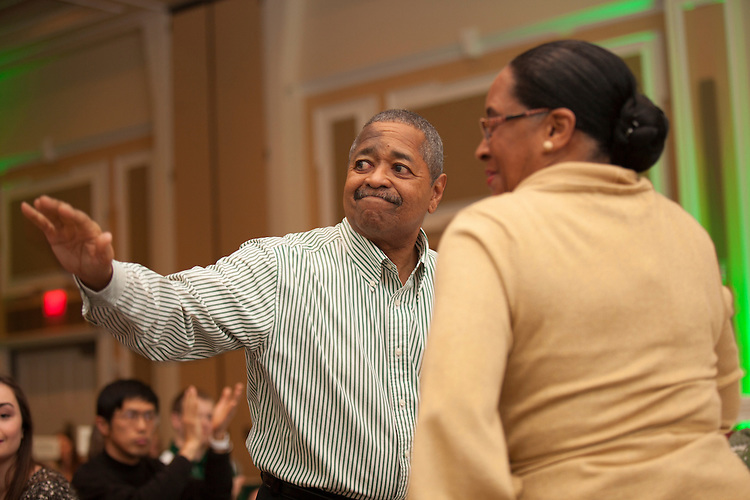 President Roderick McDavis waves to the crowd at the Learning Community Programs Awards Banquet in Baker Ballroom on Sunday, Jan. 24, 2016. ©Ohio University/ Photo by Kaitlin Owens