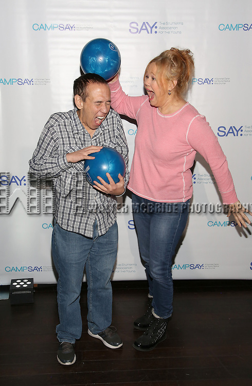 Gilbert Gottfried and Caroline Rhea attend the 5th Annual Paul Rudd All-Star Bowling Benefit for (SAY) at Lucky Strike Lanes on February 13, 2017 in New York City.