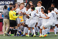 Mishawaka Marian players celebrate a goal from Jordan Morris (10) during the IHSAA Class A Boys Soccer State Championship Game on Saturday, Oct. 29, 2016, at Carroll Stadium in Indianapolis. Marian won 4-0. Special to the Tribune/JAMES BROSHER