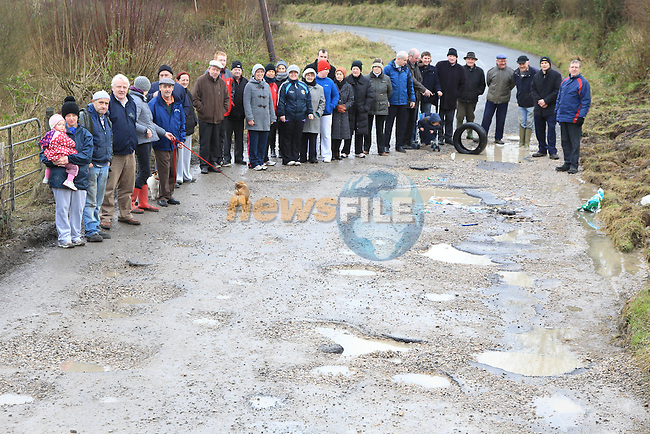 Members of the IFA from the Moynalty and Kingscourt area of County Meath showing what they have to endure on the main road from Kells to Kingscourt..Picture: Fran Caffrey/www.newsfile.ie.NO REPO FEE when used with associated press release from the IFA..Contact Niall Madigan..