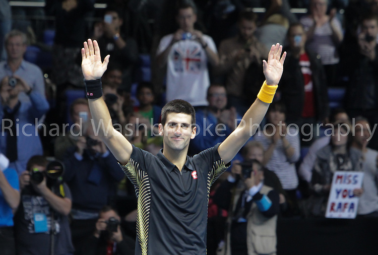 Barclays ATP World Tour Finals 2012  O2 Arena..Novak Djokovic (SRB)  beat Juan Martin Del Potro (ARG) 4:6  6:3  6:2..Taken by Richard Washbrooke