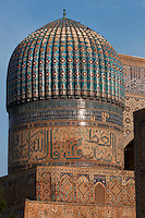 Detail of dome, Bibi-Khanym Mosque, 15th century, Samarkand, Uzbekistan, pictured on July 16, 2010, at dawn. Named after the wife of Amir Timur, 14th century ruler, the mosque was constructed following his 1399 Indian campaign. It collapsed after an earthquake in 1897 and was restored in the late 20th century. Samarkand, a city on the Silk Road, founded as Afrosiab in the 7th century BC, is a meeting point for the world's cultures. Its most important development was in the Timurid period, 14th to 15th centuries. Picture by Manuel Cohen.