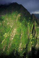 Koolau mountains lit from sunrise on the windward side of Oahu