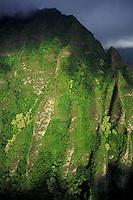 Koolau mountains lit from sunrise on the windward side of Oahu