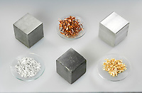 METALS AND NONMETALS<br /> (Variations Available)<br /> Group of Metals<br /> Top row - Iron, Copper, Aluminum. Second Row - Silver, Lead, and Gold.