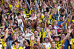 The Phoenix Yellow Fever fan club cheer during the match against the Brisbane Roar in the A-League football match at Westpac Stadium, Wellington, New Zealand, Sunday, January 04, 2015. Credit: Dean Pemberton