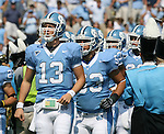 15 September 2007: North Carolina's T.J. Yates (13). The University of Virginia Cavaliers defeated the University of North Carolina Tar Heels 22-20 at Kenan Stadium in Chapel Hill, North Carolina in an Atlantic Coast Conference NCAA College Football Division I game.