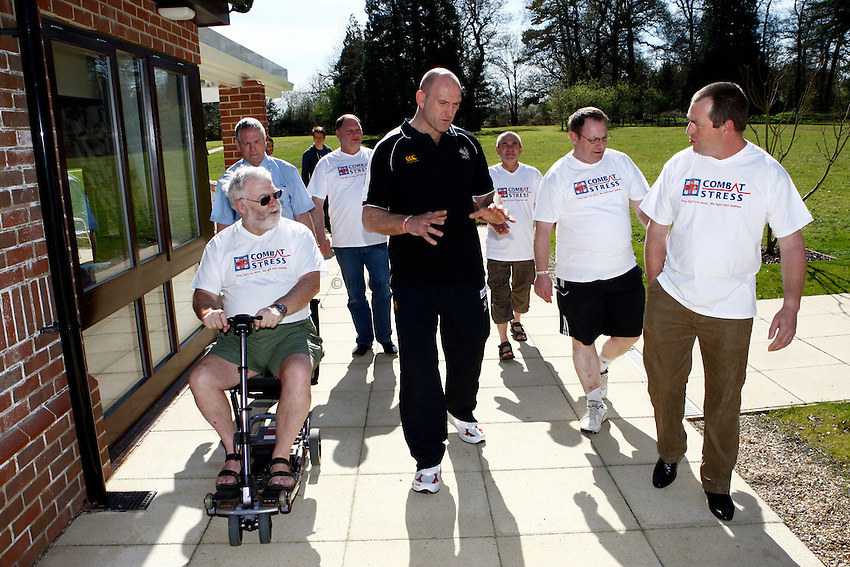 Photo: Richard Lane/Richard Lane Photography. Lawrence Dallaglio visits Combat Stress's Tyrwhitt House in Leatherhead, Surrey which is one of three residential centres for military veterans suffering from a psychological condition related to their Service career. Combat Stress is one of four military charities to benefit from the forthcoming London Wasps St GeorgeÕs Day Game against Bath at Twickenham Stadium on 23rd April 2011.  It is the UKÕs leading military charity specialising in the care of Veterans' mental health. The charity cares for men and women who are suffering from depression, anxiety, a phobia or Post Traumatic Stress Disorder as a result of their time serving in the armed forces. 06/04/2011.
