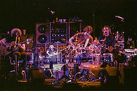 In Camera Double Exposure of Two Nights overlaping. The Grateful Dead live at Radio City Music Hall, New York City Performing on Sunday 26th Electric Set and Wednesday 29th Acoustic Set. October 1980